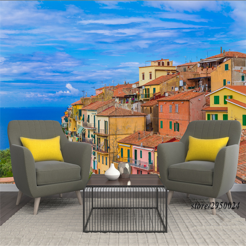 Customize Wall Murals Scenery Italy Seaside 3d photo wall paper Waterproof TV Background Living Room Kitchen Bedroom Kitchen shinehome black white cartoon car frames photo wallpaper 3d for kids room roll livingroom background murals rolls wall paper