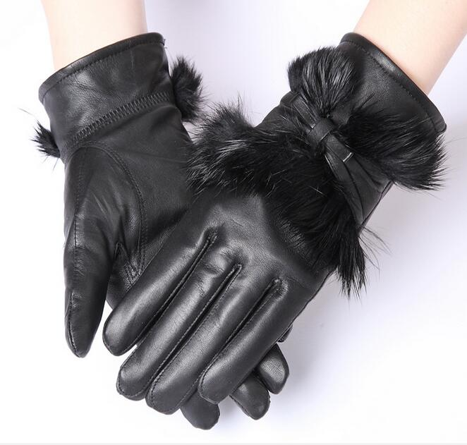 8c87286c12ca Click here to Buy Now!! Femmes D. Femmes mode hiver gants épais chaud réel  en peau de mouton fourrure de lapin ...