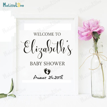 Personalized Name And Date Vinyl Stickers for Baby Shower Welcome Sign Decals Removable Party Wooden Wall Decor Sticker B838