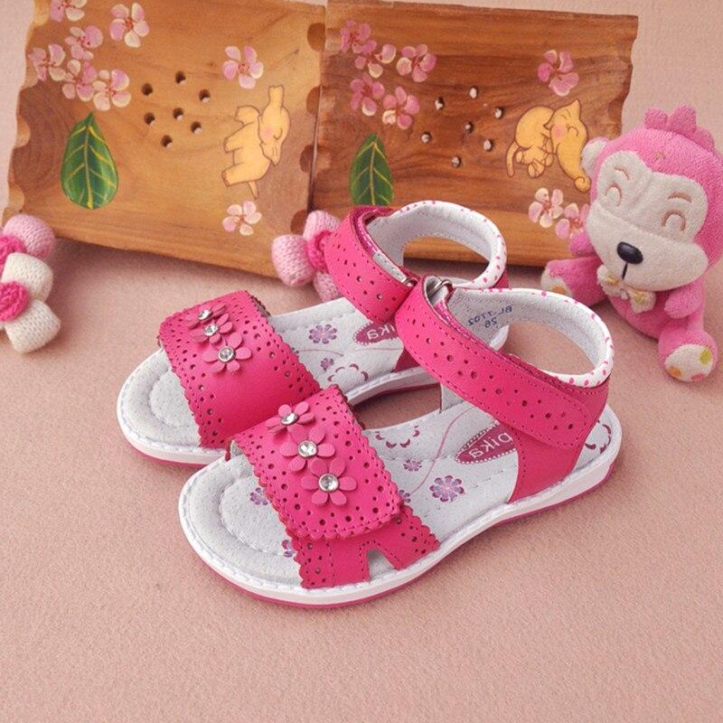 01e9a3013 NEW 1 pair Flower Genuine Leather Sandals Orthopedic Sandals Children shoes+inner  13.3-20.6cm