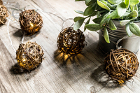 20PCS 4 3M Natural Brown Rattan Ball Festoon Fairy Lights String For Wedding Holiday Party Home