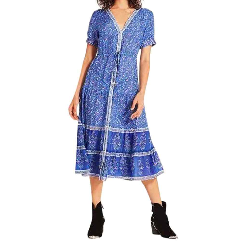 scarpe di separazione c604a 11fa0 Casual Summer Chiffon Dress Women Clothes 2019 Sexy Floral Women Holiday  Gonna lunga Boho Long Maxi Evening Party Beach Dress #8
