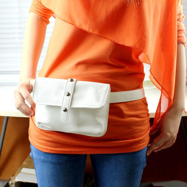 Moda Cuero de LA PU Bolso de La Cintura decoración Del Remache Cinturón de Dinero Bolsa de Carpeta de Las Mujeres Mini Bolso