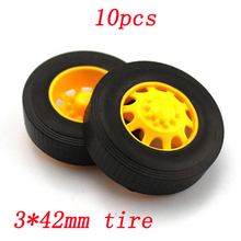 10pcs 3*42mm Rubber Tire for RC Model DIY Toys Cars Front Rear Tyre Wheel Rim Tire Skin Dia 42mm Technology Production Tires