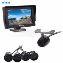 DIYKIT Video Parking Radar four.three Inch Rear View Automotive Monitor + Parking Radar + Rear View Automotive Digital camera + four Sensors Parking Help