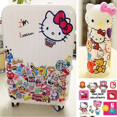 Hello kitty cute cartoon luggage trolley case suitcase stickers ...