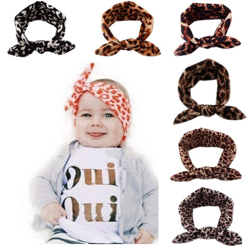 Leopard Rabbit Ear Elastic Turban Headband Bands Cheap Hot Sale Kid Head  Band Girl For Hair f17ba82165c5