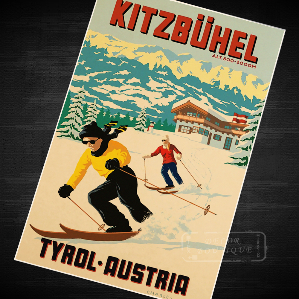 The Austrian Alps ski Trip Travel Retro Vintage Poster Canvas ...