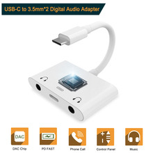 USB C to Dual 3.5mm Aux Earphone jack Audio Adapter PD Fast Charging Type C Cable for iPad Pro Huawei Google Pixel 2/2XL 3/3XL baseus usb c to 3 5mm aux audio adapter for xiaomi 6 huawei p20 pro usb type c to 3 5 earphone converter fast charging cable