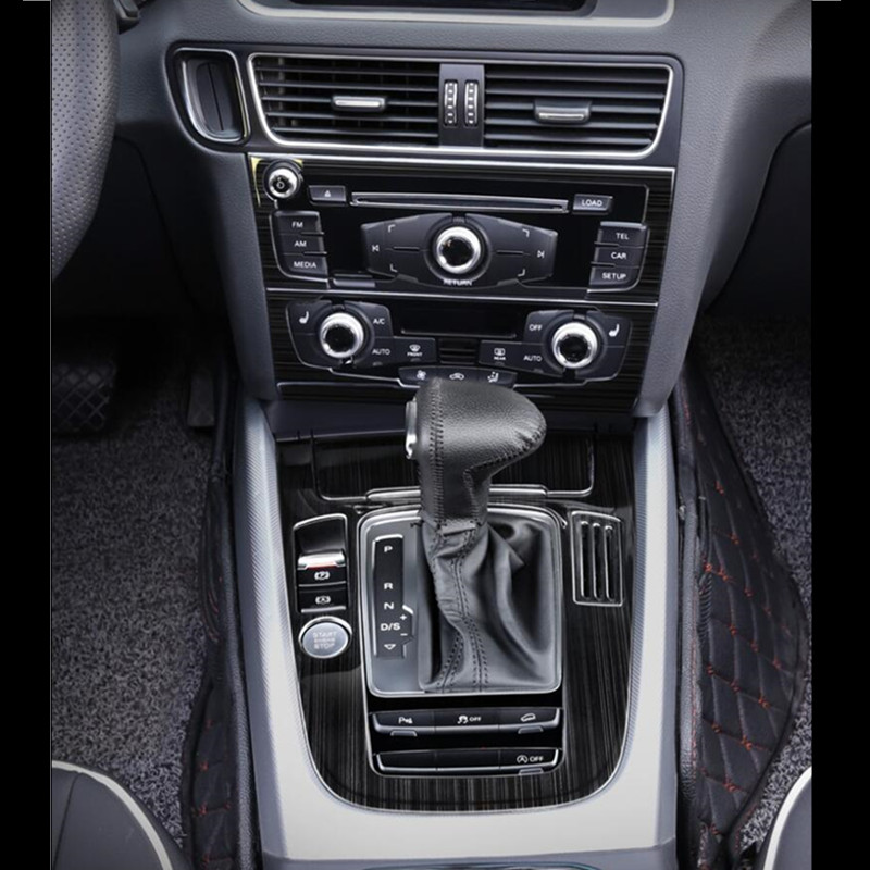 Black Stainless Steel Gear Shift Panel Cover Trim For Audi