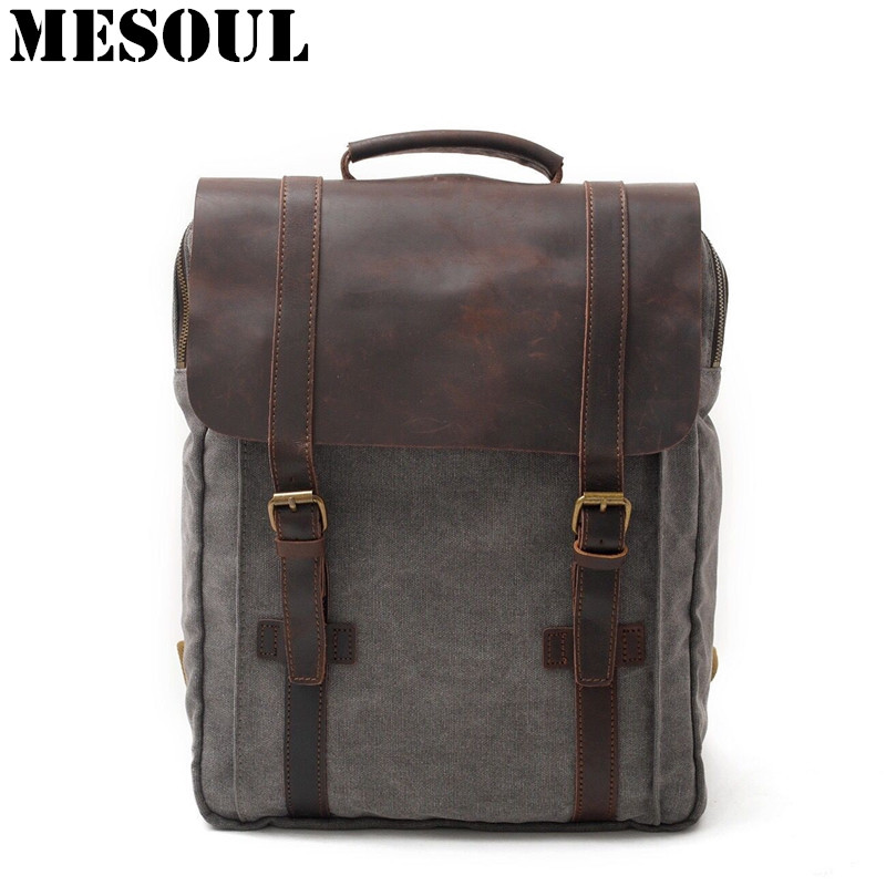 Unisex Canvas Backpack Male Vintage Bags Cover Women School Laptop Backpack Schoolbag Dark Gray Daypack Casual Big Travel Bag men canvas 15 inch notebook backpack multi function travel daypack computer laptop bag male vintage school bags retro knapsack