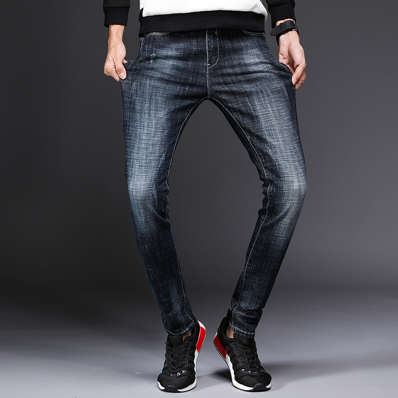 Mens fashion solid color thin casual black jeans mens blue elastic black mens jeans high quality straight straight pant