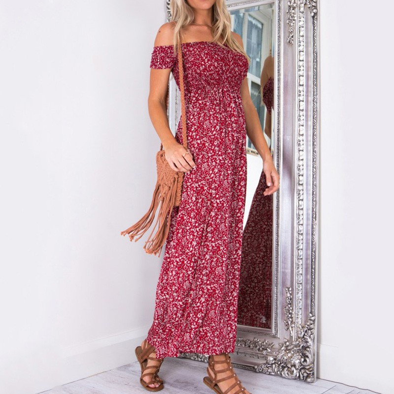 2018dress Europe and the United States in summer new sexy wrapped chest word floral split dress