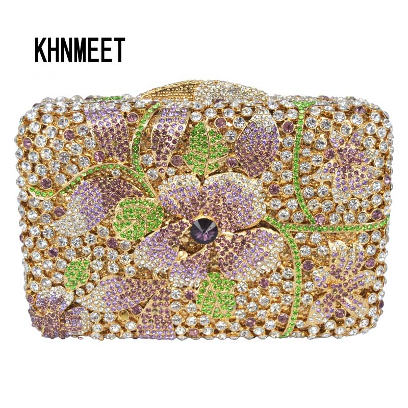 LaiSC Golden crystal bags wedding clutch bags Luxury diamante evening bags handmade soiree pochette sparkly party purse SC236