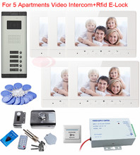 """Video Door Phone Aluminum CCD Camera 700Lines 5 Buttons 7 """"Tft Video Doorphone With Rfid Electronic Lock Videophone System Unit"""