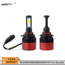 2x 9012 9003 H4 9004 9005 H7 H11 COB Car LED Headlights Bulb 16000LM For Hyundai Solaris Accent Tucson I30 IX35 Santa Fe Elantra