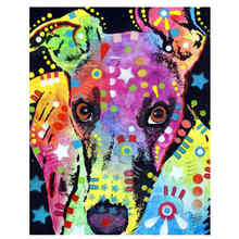 WONZOM Colorful Dog Arcylic Painting By Numbers On Canvas Framed Abstract Wall Pictures Art For Living Room Home Decoration