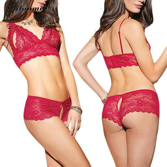 2a07fb41081b4 Lace Up Push Up Sexy Bra Set T-back Lingerie Sexy Shelf Bra Lingerie Set  Women Plunge hollow Lace Bra + Briefs Transparent Thong