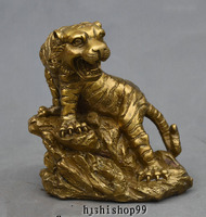 Chinese Fengshui Brass Sculpture Roars ferocious Zodiac Tiger Stand Stone Statue