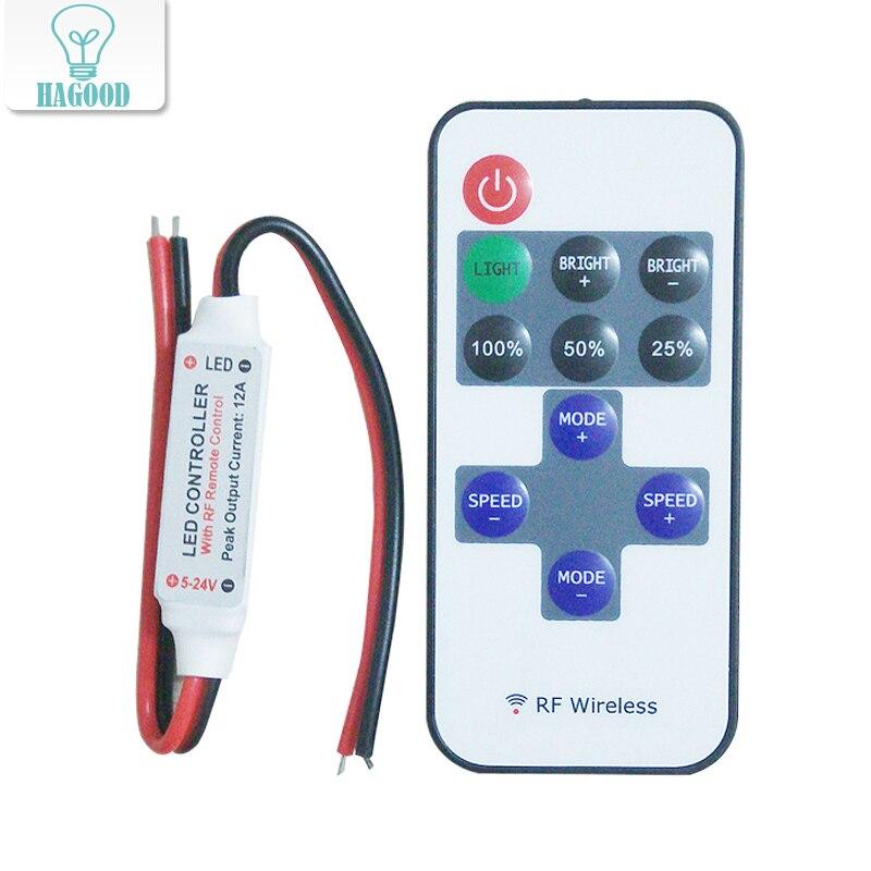 Бесплатная доставка РФ Беспроводной светодиодный контроллер удаленного 12A 5 В-24 В <font><b>Led</b></font> РФ Беспроводной мини Диммер дистанционный контроллер д&#8230;