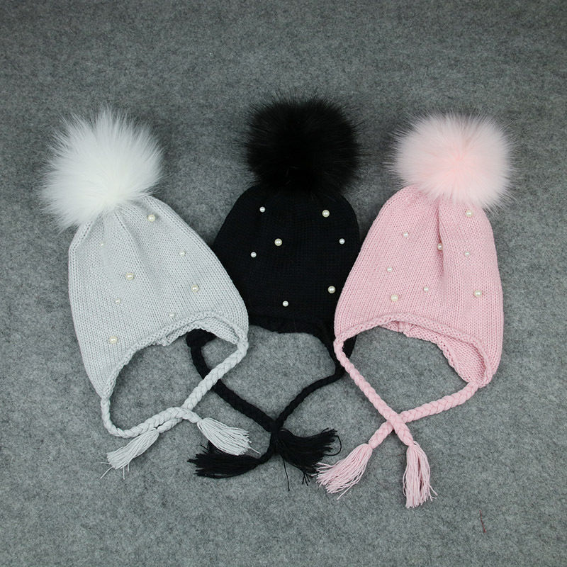Cute Girls Boy Hair Ball Earbud Hat Kids Child Crochet Winter Warm Knit Hats Cap