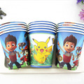 10pcs/Lot PAW Patrol /Frozen/Pokemon Go Disposable Paper Cups of Degradable Kids Birthday Party Drinking Pikachu Cartoon Cups