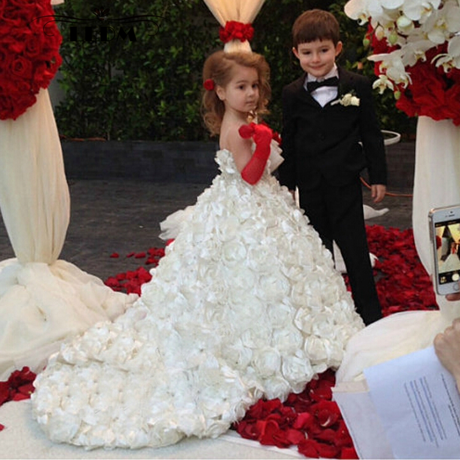 Flower Girl Dress 2019 New White Twist Flower Beautiful First Communion Dresses For Girls Custom Kids Evening Gowns