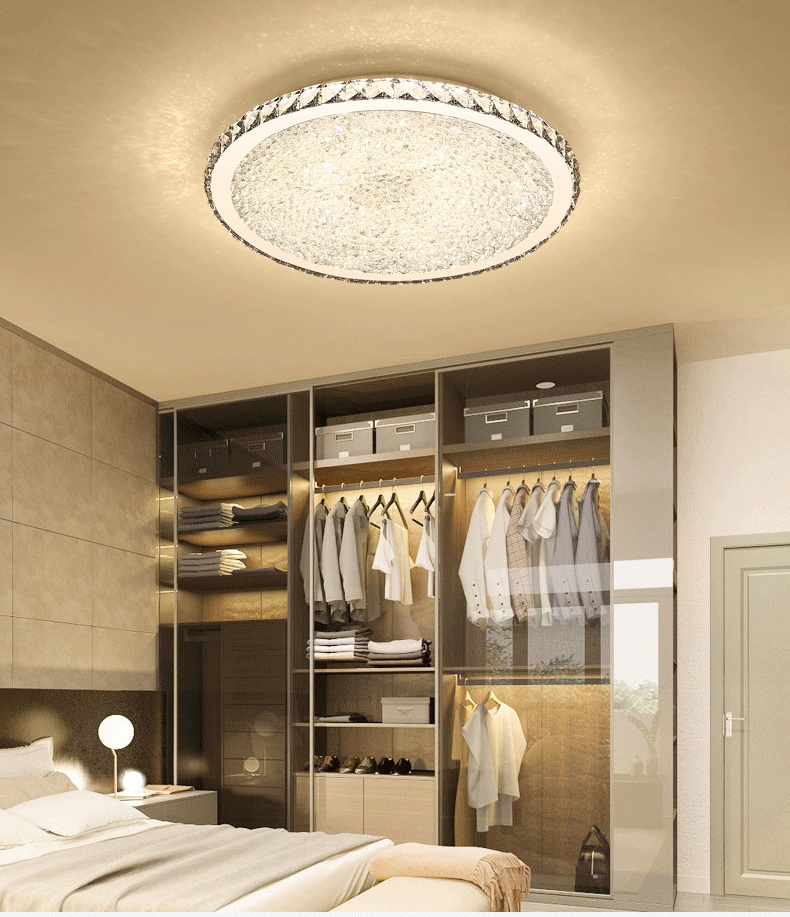 Round Crystal Led Ceiling Light Living Room Bedroom Study