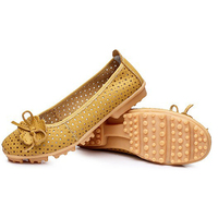 ASDS New 2016 High Quality Women Genuine Leather Flats Shoes Cut Outs Ballet Women Flats Comfort