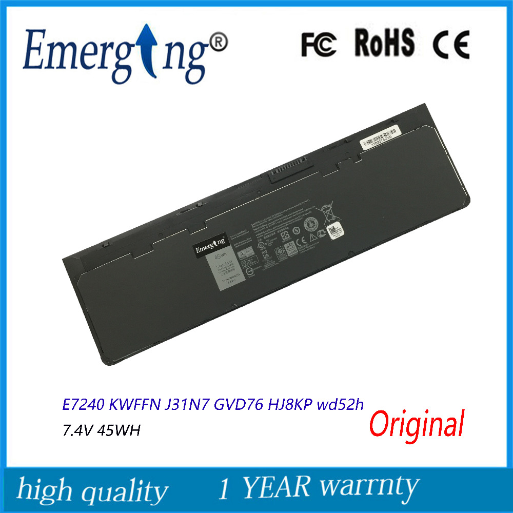 7.4V 45WH New Original Laptop Battery for Dell WD52H GVD76 HJ8KP NCVF0 E7240 E7250 original new vfv59 laptop battery for dell latitude e7240 e7250 w57cv 0w57cv wd52h gvd76 vfv59 7 4v 52wh free 2 years warranty
