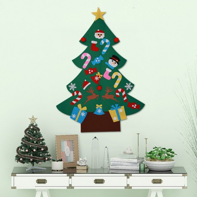 Us 7 35 25 Off Diy Christmas Tree Lovely Ornaments Door Power Felt Christmas Tree Wall Hanging New Year Christmas Decoration Children Gifts In Trees
