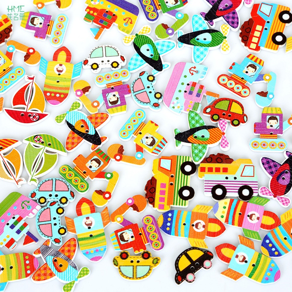 50pcs/bag Mixed Color 2 holes Colorful Wood Sewing Painting Decoration Buttons Scrapbooking Car Ship Aircraft Pattern