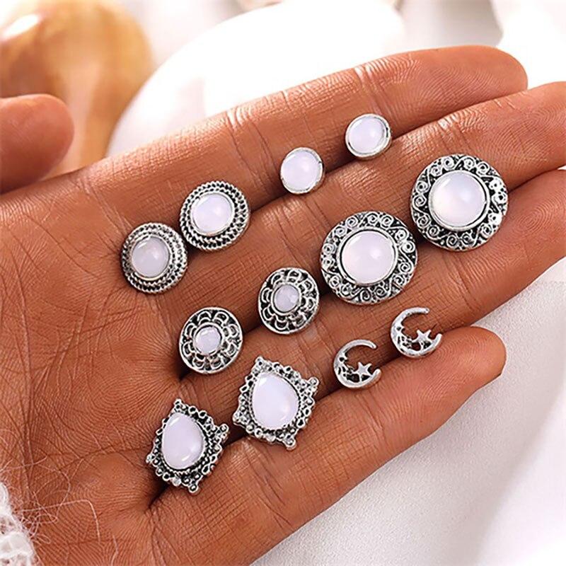 6 парт/компл. богемные серьги-гвоздики с Луной и звездой, эффектные круглые серьги ручной работы, украшения для женщин, ювелирные изделия в п...