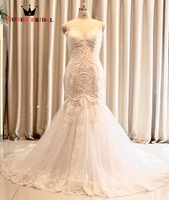 Made tùy chỉnh vestidos de noiva Mermaid Sweetheart Appliques Ren Sexy Dài Wedding Dresses robe de mariage 2017 New OK08