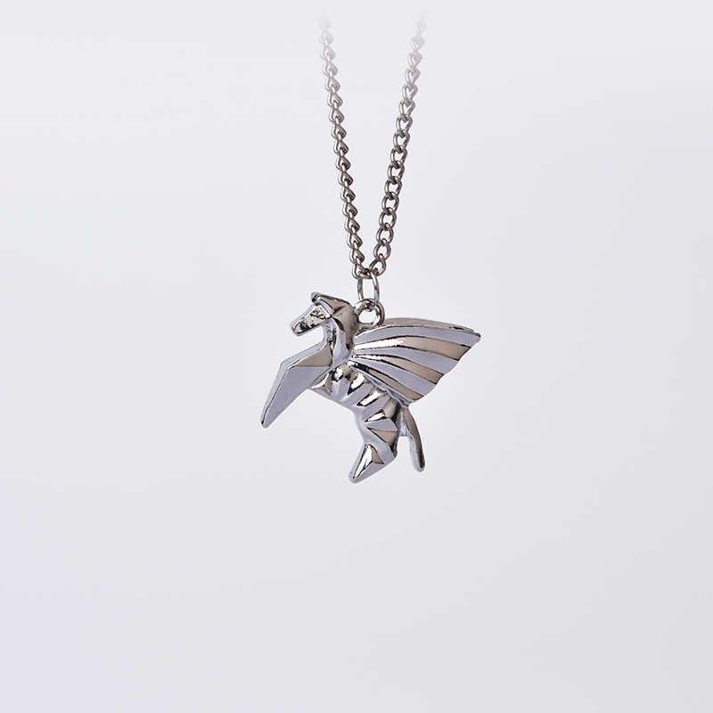 Origami Pegasus Cavalo Pingente Colares Para As Mulheres Homens Moda Minimalista Pet Animal Presentes Da Cadeia de Jóias Artesanais