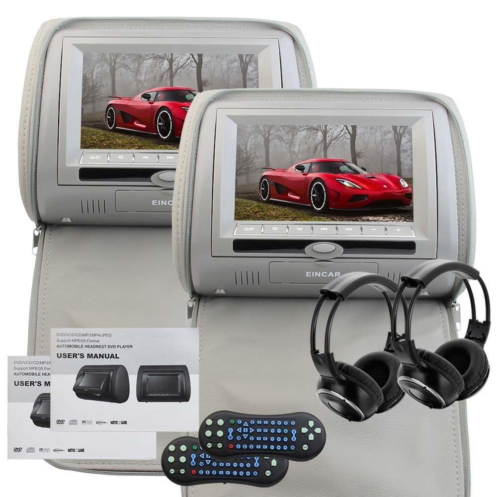 Headrest Pillow DVD Player LCD Digital Screen FM&IR Transmitter Game&IR Support 32 Bits Game Car Monitor USB SD Two IR Headphone eincar car 9 inch car dvd pillow headrest two monitor lcd screen usb sd 32 bit game fm ir multimedia player free 2 ir headphones