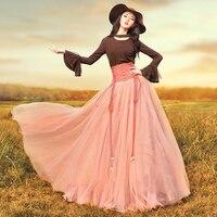LYNETTE'S CHINOISERIE 2017 autumn women royal high waist slim wind multi layer gauze expansion bottom skirt