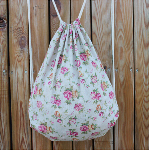 New backpack school bags Handmade cotton cloth drawstring bag ...