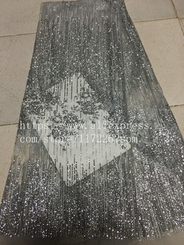 New Design African glued glitter Lace Fabric in silver JRB-00362 French Tulle Lace Fabric