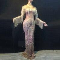 Champagne Gold Rhinestones Fringes Dress Stage Wear Big Stretch Dress Singer Evening Performance Tassel Long Dress DWY1349