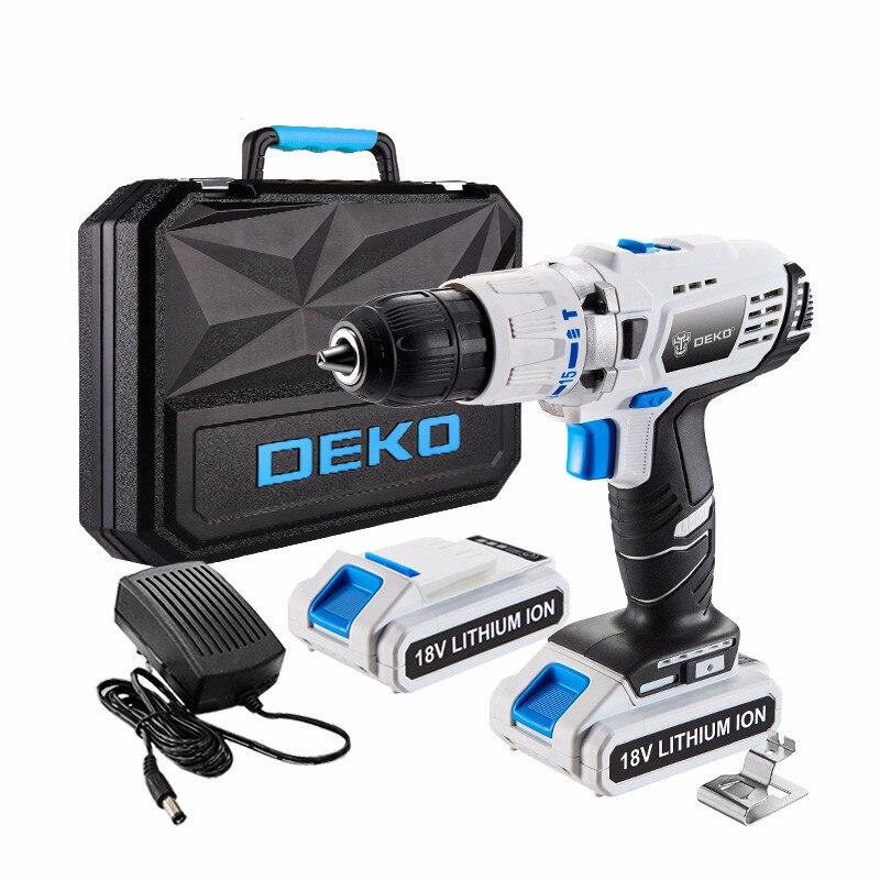 DEKO GCD18DU3 destornillador eléctrico Taladro Inalámbrico taladro de impacto controlador de potencia 18 voltios DC batería de iones de litio de 13mm ¡50N! m 2-velocidad