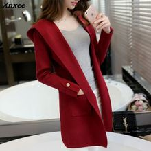 Xnxee new sweater knit cardigan jacket hooded casual long