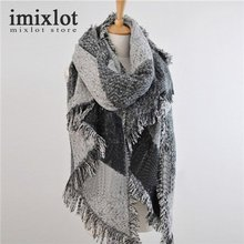 2016 New Style Women Plaid Scarf Winter Warm Large Tartan Wrap Blanket Scarf Female Cashmere Pashmina & Wool Tassel Scarf Shawl