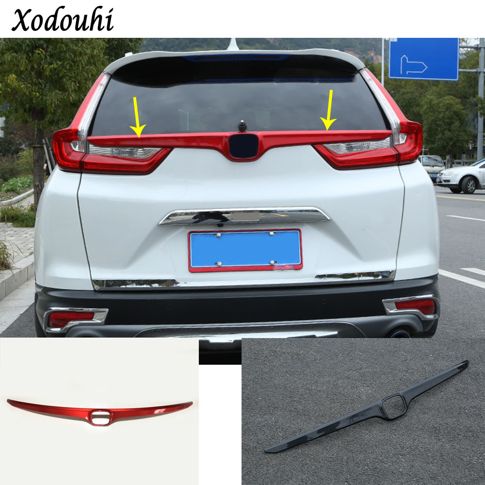 Car styling cover carbon fiber/ABS Rear logo door tailgate frame plate trim stick trunk parts 1pcs For Honda CRV CR-V 2017 2018 high quality car styling cover detector abs chromium tail back rear license frame plate trim strips 1pcs for su6aru outback 2015