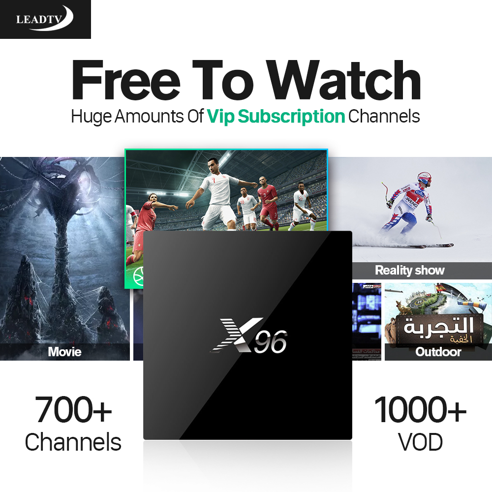 X96 TV Box Android 6.0 Arabic IPTV Box Amlogic S905X Quad Core WiFi Smart IPTV 4K Media Player Set Top Box Leadtv 700 Channels 2017 android 6 0 top box m92s note wifi media player amlogic s912 quad core cortex a53 smart android tv box caja de tv androide