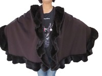 Women's Genuine Real Cashmere and Real Wool Cape /Poncho /Wrap/Coat with Minks all around Fashion Winter