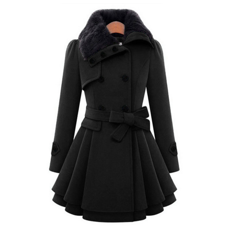 2019 Autumn Warm Fur Turn Down Collar Trench Coat For Women Outerwear Black Blue Female Double Breasted Trench Coat Femme in Trench from Women 39 s Clothing