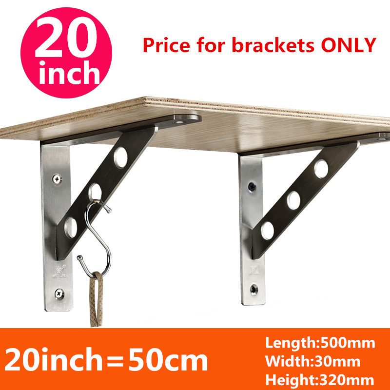 ФОТО One pair 50cm*32cm*3cm thickness 4mm Stainless steel triangular bracket