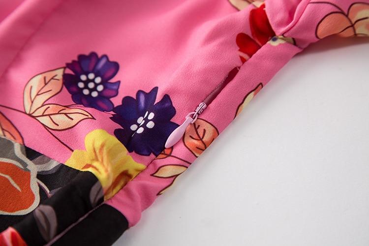 Haute Femmes Manches Qualité Imprimé Piste Automne Longue 2017 Rose Designer Floral Date Longues Robe Plissée Casual De vtzqwIEq