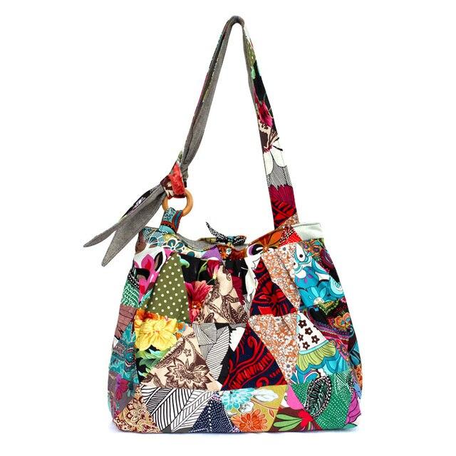 3bdbbc4c57 Unique Boho Vintage Sturdy Patchwork Bag 2016 new brand Women Shoulder Bag  Designer handbags Large travel tote bags Gift for her